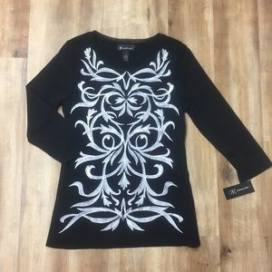 NWT INC Embroidered Black and White Blouse L